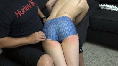 Chrissy Marie Made for Spanking – Topless OTK spandex yoga shorts
