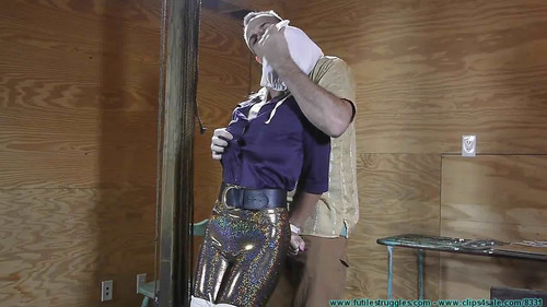 FutileStruggles: Miss Glitter Pants in a Legs Spread Hogtie – Part 1