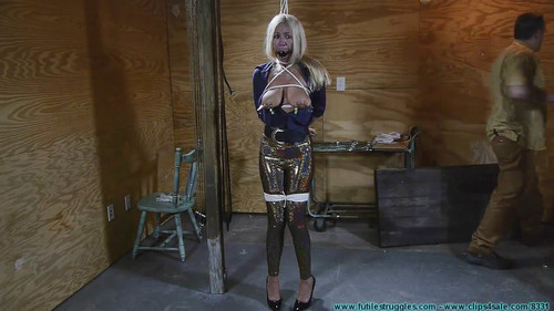 Futile Struggles: Miss Glitter Pants in a Legs Spread Hogtie – Part 2