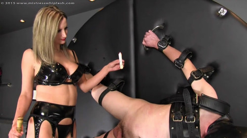 Mistress Whiplash – Whipped and waxed on the wheel