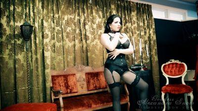 Goddess Alexandra Snow – Black Lingerie on Red Photo Shoot 2