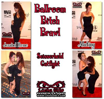 Lucha Girls: Mutiny & Jezabel Romo – Ballroom Bitch Brawls: Evening Gown Scissorhold Catfight
