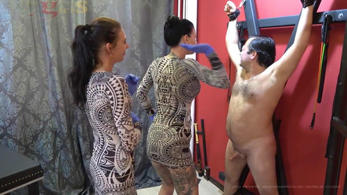 DANGEROUS-GIRLS: Sexy brutal ballbusting and face slapping