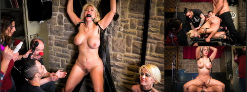 CROWD BONDAGE: Curvy Blondie Fesser dominated in BDSM group scene