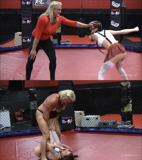 IronBelles: Kasie Cavanaugh – Total Amazonian Cage Fight Domination of Small Girl