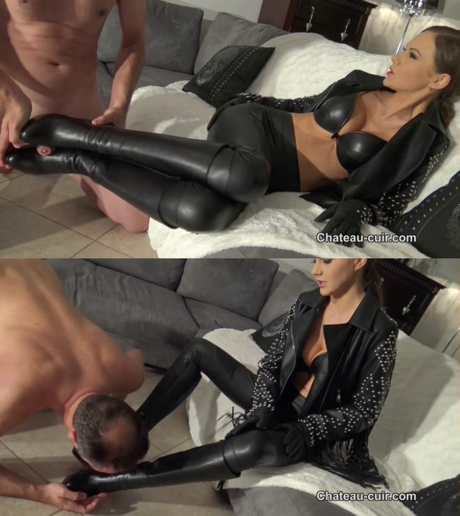 Chateau-Cuir: Cum on her divine boots part 2