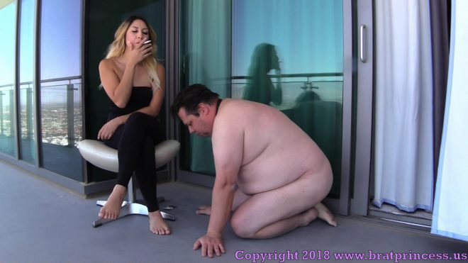 Brat Princess 2: Skylar – Smokes Two Cigarettes on Patio with Human Ashtray (1080 HD)
