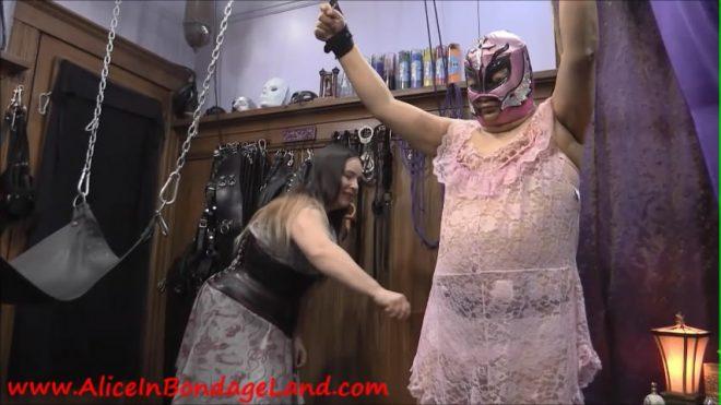 Alice In BondageLand: Clothespins Crossdresser CBT – BitchBoi In The Sissy Sling