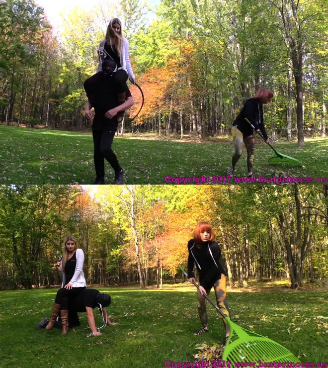 Chloe rides her male slave around the grounds while inspecting the work of  her female. Her tiny, thin, slave girl is forced to rake the massive yard.