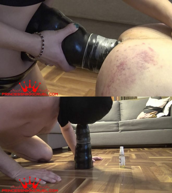 Assured, slave takes dildo up his arse share your