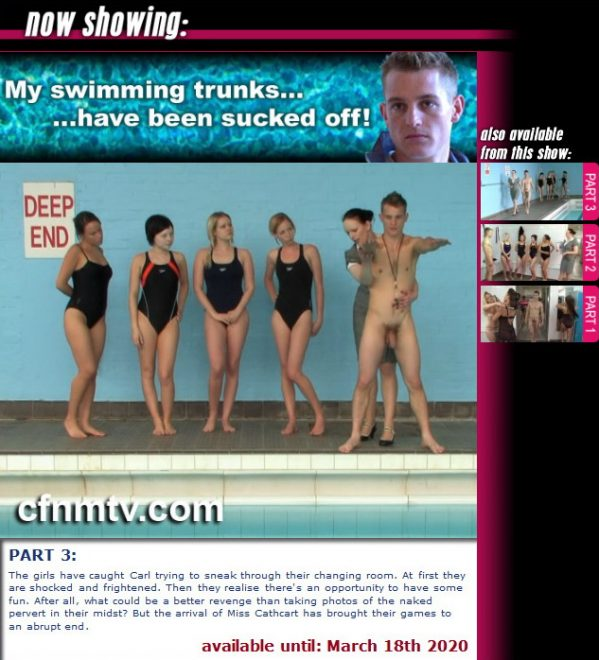 cfnmtv: My swimmimg trunks…have been sucked off! (Part 1-3)