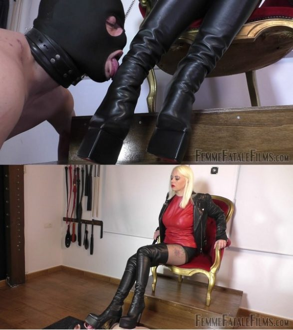 Femme Fatale Films Divine Mistress Heather: My Lucky Leather Boot Licker – Super HD (Complete)