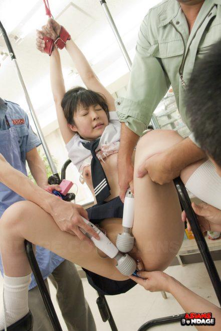 Asians Bondage Extreme Japanese Bondage Porn Movies: Kaori Kawada is fucked with big, strong toys by three men