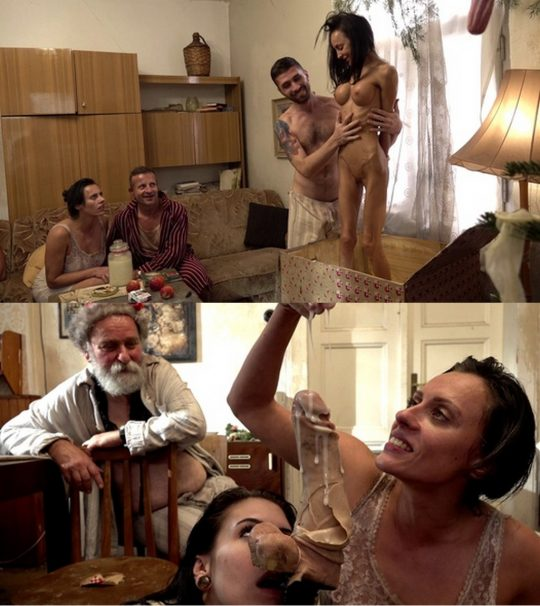 Brattany Bardott, Anna De Ville and George Uhl in video 'Xmas Day Massacre' of 'PerverseFamily' studio [MILF, anal, anal toy, asshole, blonde, blowjob, brunette, dildo, fetish, fisting, gaping hole, hardcore, old, perverse, pissing, skinny, threesome]