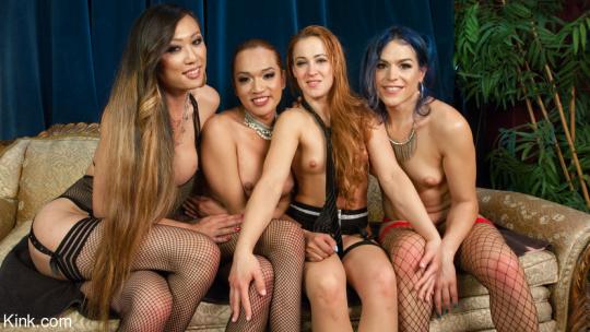 Jessica Fox, Kelli Lox, Venus Lux, Cheyenne Jewel starring in video 'Bounty Babes: Cheyenne Jewel's First TS Gang Bang!!' of 'TSPUSSYHUNTERS/KINK' studio