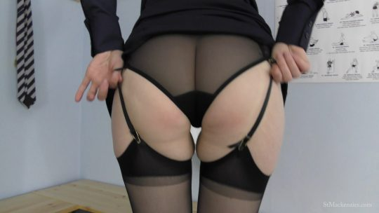 St Mackenzie's Miss Page: Sexy Teacher Miss Page Strips While Teasing You With Her Sheer Black Stockings – PANTYHOSE/STOCKINGS