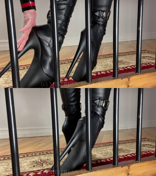 Serve Augustina: Teasing My Caged Boot Bitch